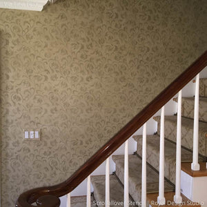 Neutral Painted Hallway and Stairway Wall using Scrollallover Wall Stencils - Royal Design Studio