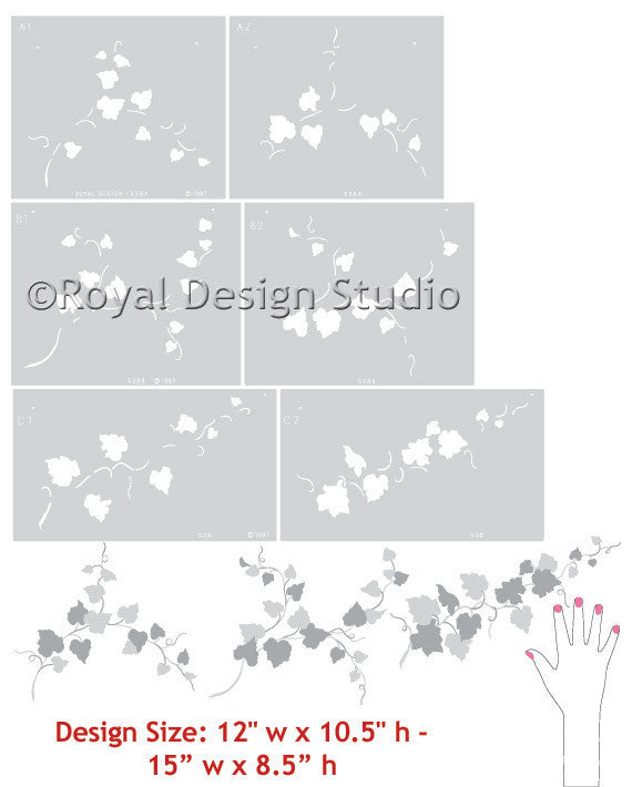 Vine and Leaf Wall Mural Stencils - Royal Design Studio