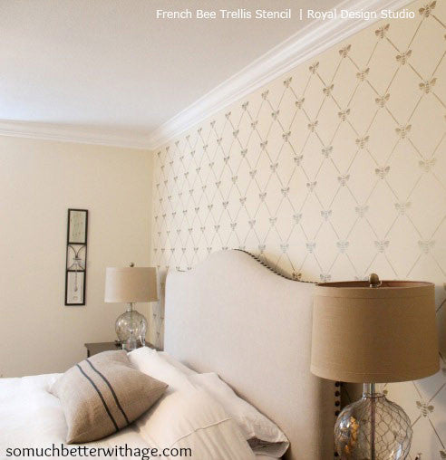 french design and bumble bee trellis pattern wall stencils for diy wallpaper effect - Royal Design Studio wall stencils