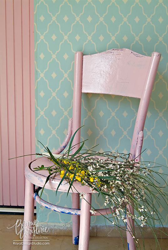 Cute and Retro Trellis Wall Stencils for Painting Accent Wall - Royal Design Studio wonderment trellis stencil