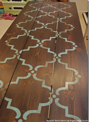 Painting on Wood with Pattern - Moorish Trellis Furniture Stencils - Royal Design Studio