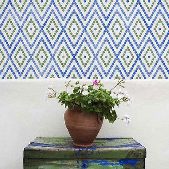 Hexagons Border Moroccan Stencil