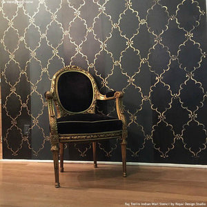Black and Gold Elegant Accent Wall Painted with Raj Trellis Indian Wall Stencils - Royal Design Studio