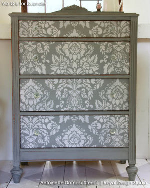 Painted Furniture DIY Projects using Large Damask Stencils for Elegant Decor