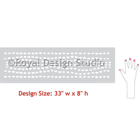 Cute Kids Room Decor - Modern Dots Column and Border Wall Stencils - Royal Design Studio