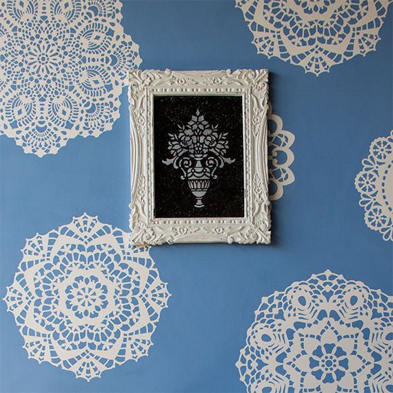 Large Wall Motif Lace Doily Stencil Set Royal Design