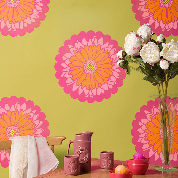 Colorful and Cute Wall Decor Ideas using Daisy Dot Flower Wall Art Stencils - Royal Design Studio