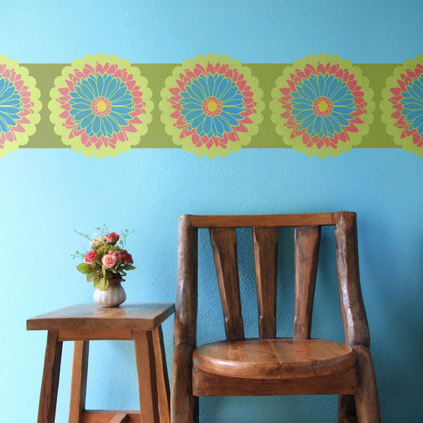 Spectacular  Colorful Wall Decor with Modern Flower Stencils in Kids Room Decor Royal Design Studio