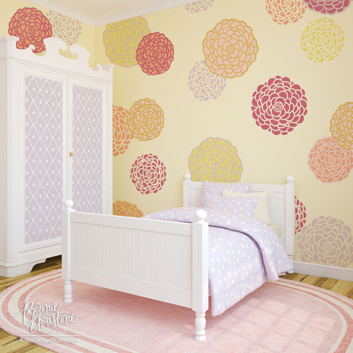 Baby Nursery Decor or Little Girls Bedroom Decor - Painted Flowers on Walls - Floral Wall Art Stencils from Royal Design Studio