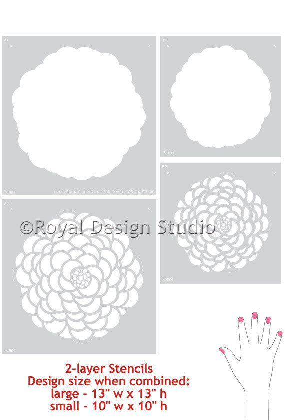 Designing Baby Nursery Decor or Little Girls Bedroom Decor - Painted Flowers on Walls - Floral Wall Art Stencils from Royal Design Studio