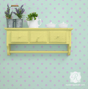 Paint your walls with cute polka dots and circle shapes - Royal Design Studio kids room decor wall stencils