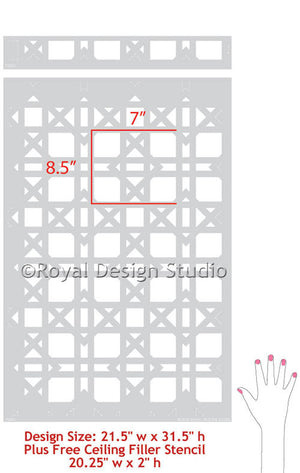 Classic and Retro Wallpaper with Rattan Pattern - Royal Design Studio Wall Stencils