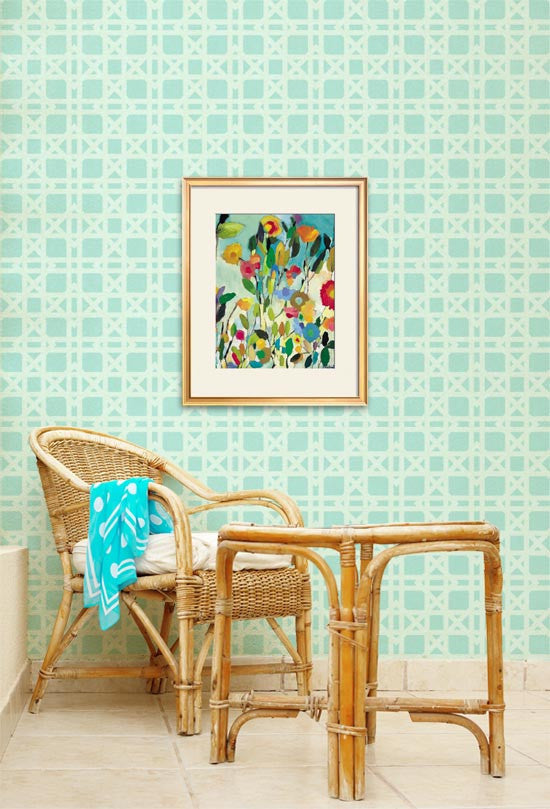 Allover Wallpaper Stencil Rattan