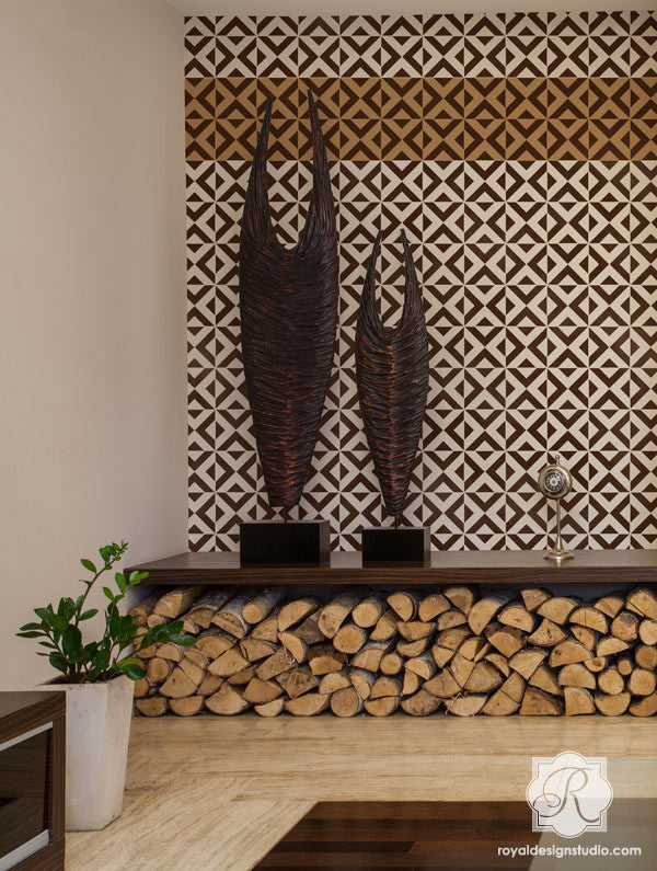 Tribal Pattern for Exotic Home Decor - Modern and Geometric Patterns Painted on Walls - Bold Accent Walls Stenciled with All the Angles Wall Stencils - Royal Design Studio