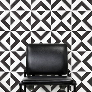 Modern and Geometric Patterns Painted on Walls - Bold Accent Walls Stenciled with All the Angles Wall Stencils - Royal Design Studio