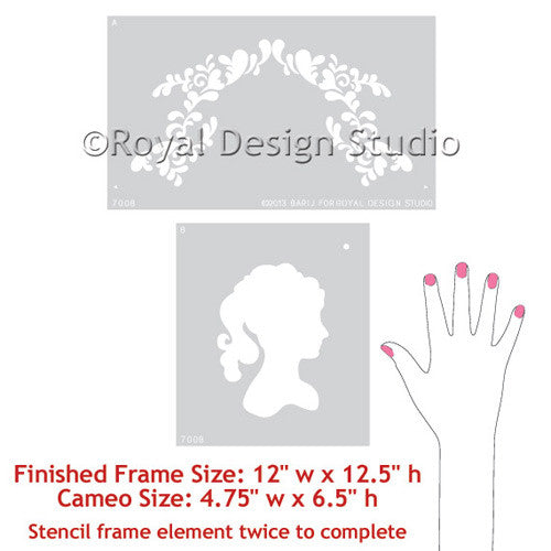 Painting Cameo Wall Stencils on Nursery Decor or Girls Room Decor - Royal Design Studio