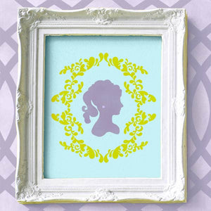 Decorate a cute girls room with feminine cameo faces and wall art stencils - Royal Design Studio