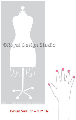 Dress Form Wall Art Stencils fpr Craft Room or Girls Room Decor - Royal Design Studio