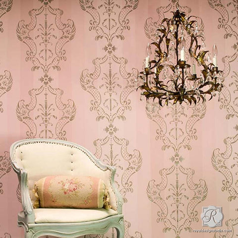 Stencil Designs For Walls damask wall stencils - large wall stencils for diy designer