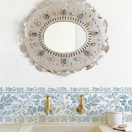 Leaves Brocade Border Stencil in Bathroom Makeover - Royal Design Studio Wall Stencils