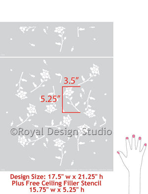 Wall floral stencil, Falling Daisies by Bonnie Christine for Royal Design Studio