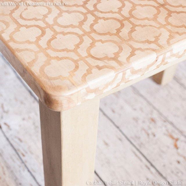 Neutral Chalk Paint Painted Wood Table Top with Casbah Trellis Moroccan Furniture Stencils - Royal Design Studio