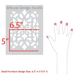 Small Craft Stencils for Stenciling Metal Carved Wood Look - Mansion House Grille Trellis Furniture Stencils - Royal Design Studio