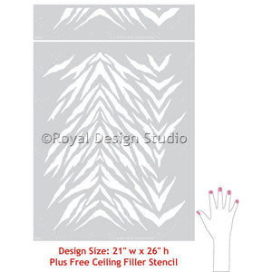 Animal Print and Zebra Stripes Wall Stencils - Royal Design Studio