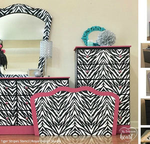 Zebra Stripes Furniture Stencil