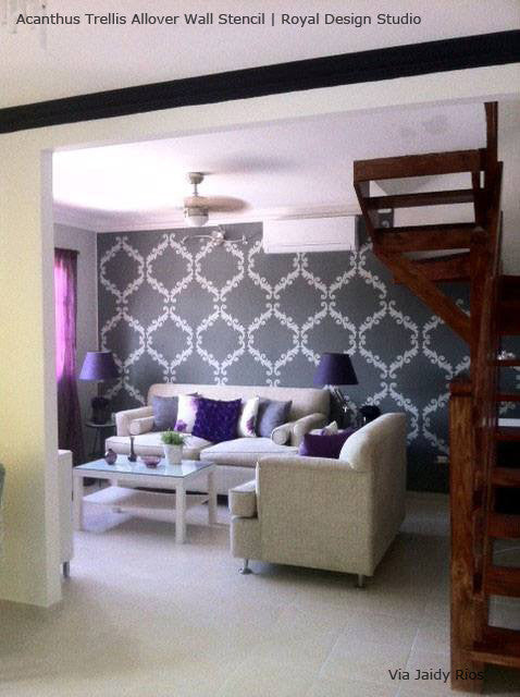 DIY Wall Painting Projects with Wall Stencils - Elegant, Chic, Trendy Wallpaper Designs - Royal Design Studio Acanthus Trellis Wall Stencils