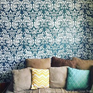 DIY Custom Wall Decor with Damask Wall Stenciling