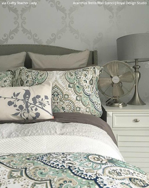 DIY Bedroom Wallpaper Designs with Acanthus Trellis Wall Stencils - Royal Design Studio
