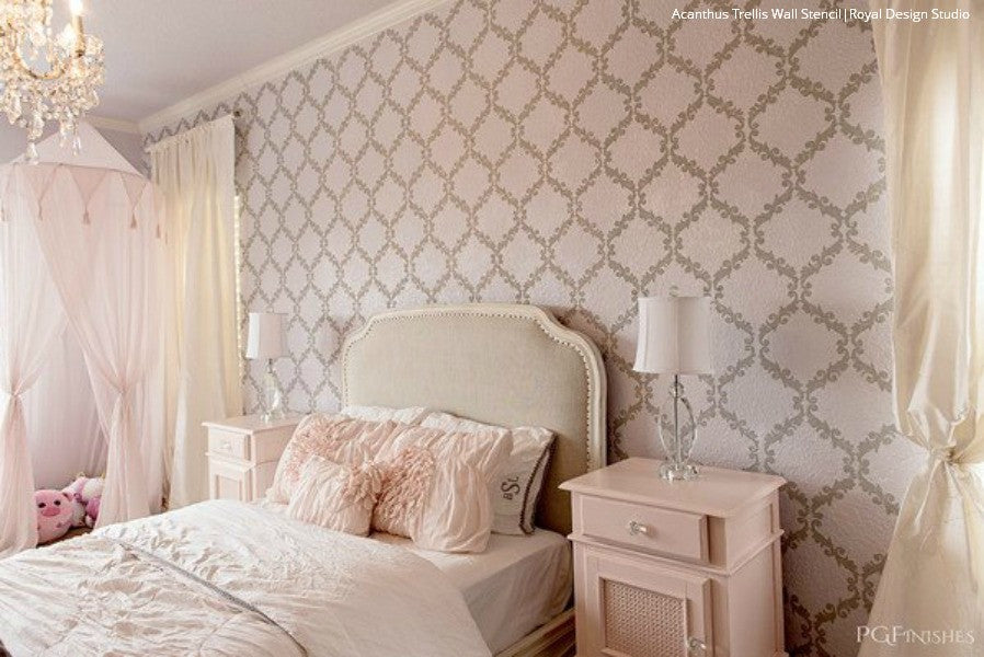 diy wall painting projects with wall stencils elegant chic trendy wallpaper designs - Bedroom Stencil Ideas