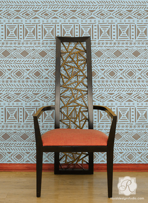 Geometric African and Tribal Pattern for Painted Accent Walls - Royal Design Studio Wall Stencils