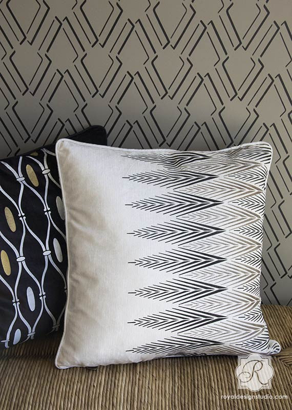 Stenciling and Painting Pillows - African Plumes Tribal Pattern Stencil for Wall Paint Projects - Royal Design Studio Stencils