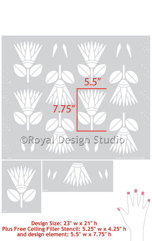 African Flower Stencils for Tribal Print Inspired Home Decor - Royal Design Studio