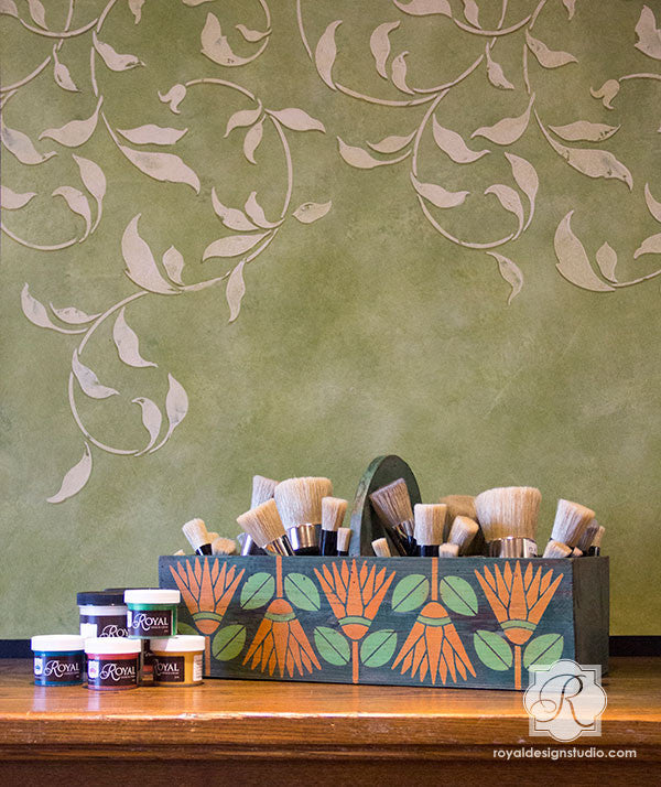 Stenciled Arts and Crafts Ideas - African Protea Flower Allover Wall Stencils for Colorful and Exotic Home Decor - Royal Design Studio