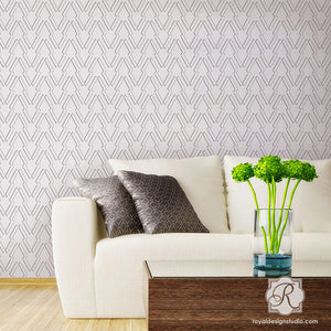 Arrow Outline Wall Stencils for Painting Living Room or Bedroom Walls with Tribal Pattern