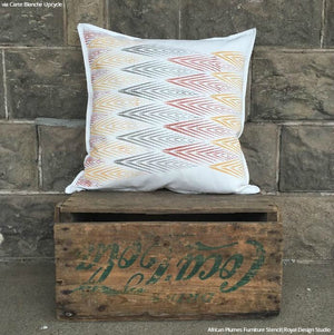 Geometric Pattern Painted DIY Pillows - African Plumes Stencils - Royal Design Studio