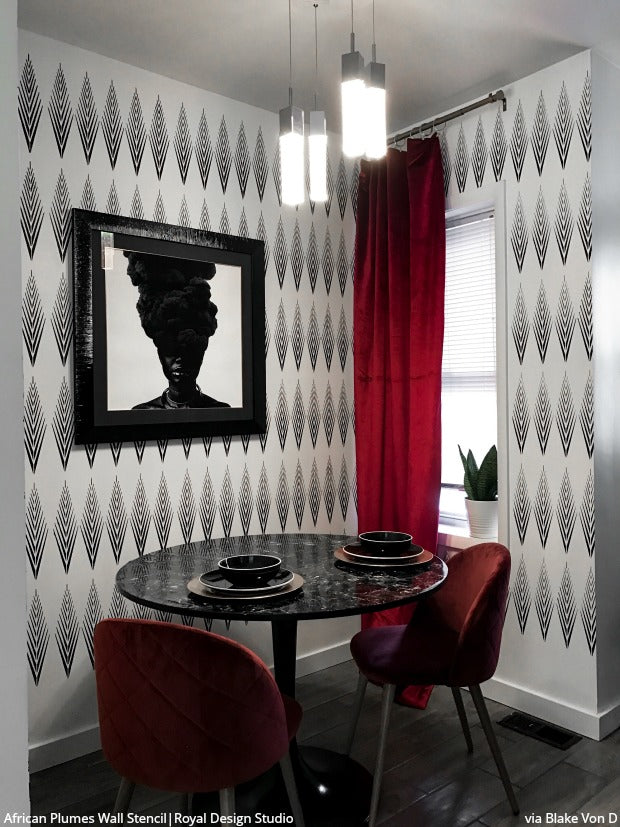 African Plumes Raven + Lily Wall Stencil