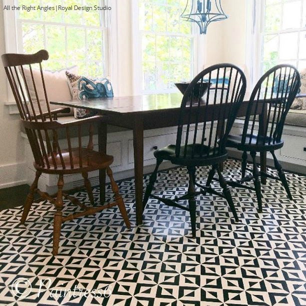 Geometric Pattern Painted Floor Stencils - Kitchen Makeover with Royal Design Studio