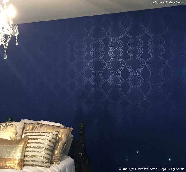 Modern And Retro Damask Wallpaper On Accent Wall