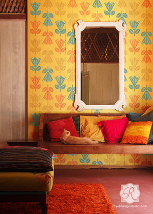Decorate Walls with Bold and Colorful Paint and Flower Wall Stencils - Royal Design Studio