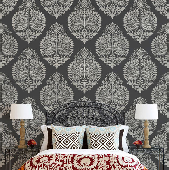 Delightful Painting A Large Pattern On Walls   Indian Annapakshi Bird Damask Wall  Stencil By Royal Design ...