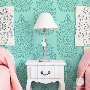 Persian Flower Garden Allover Damask Wall Stencil - Royal Design Studio