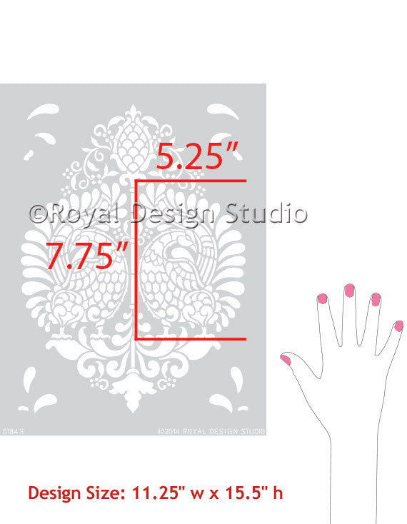 Indian Damask Wall Stencil by Royal Design Studio Stencils