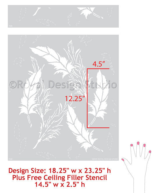 Delicate Allover Feather Pattern Wall Stencils for African Tribal Home Decor - Royal Design Studio