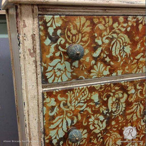 Antique and Distressed Dresser Drawers Stenciled with Flower and Vine Pattern - Allover Brocade Furniture Stencils - Royal Design Studio