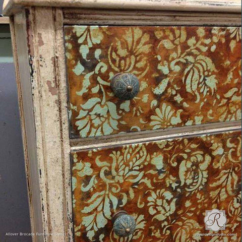 Antique And Distressed Dresser Drawers Stenciled With Flower And Vine  Pattern   Allover Brocade Furniture Stencils