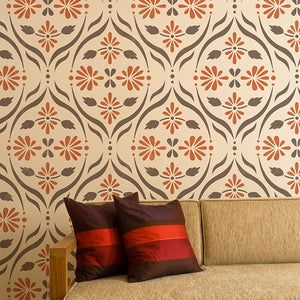 Decorate you home decor with trendy retro designs found in the Chloe Floral Trellis Wall Stencil